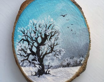 Original Art: Hand painted wood slice with winter landscape. Nordic, Scandinavian, snow, woodland, winterland, trees, landscape, field, bird