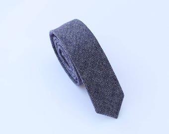 Blue Wool Tie.Blue Herringbone Wool Tie.Mens Blue Skinny Tie. Blue Tie for Wedding.Gift.Prom.