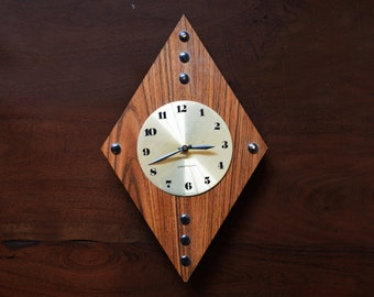 Vintage Wall Clock; Westclox made in Canada - Mid Century Modern Veneer Wood and Brass Vintage Battery Operated