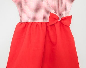 Red wrap dress bi-material with a bow - 2 years