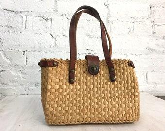 vintage John Romain mini straw purse with leather straps / vintage raffia basket bag / jute top handle structured box bag
