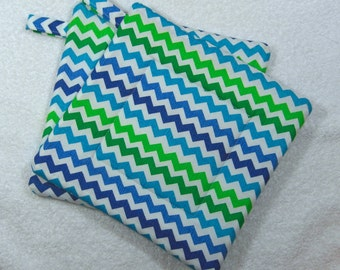 Everyday Pot Holders Quilted Hot Pad Set of 2 - Multi Blue Chevron Trivet Ready to Ship