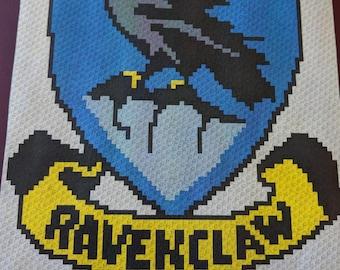 Harry Potter's Ravenclaw – Teen/Adult Size C2C Crochet Blanket Afghan Graph Pattern – 75x90 C2C crochet squares
