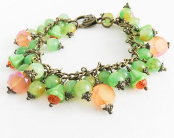 Orange and green bracelet, colorful beaded bracelet, colorful jewelry, chunky bracelet, brass and bronze jewelry, gift for her