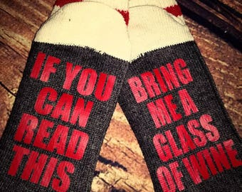If You Can Read This...Wine Socks, wool socks, sticking stuffers, for her