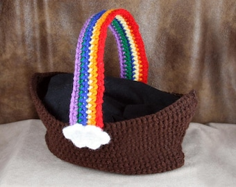 Noah's Ark Carry Bag - crochet, carry bag with rainbow strap