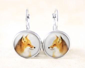 Fox Animal Earrings - Leverback Earrings Silver, Fox Profile, Silver Fox Earrings, Silver Fox Jewelry, Fox Dangle Earrings, Animal Jewelry