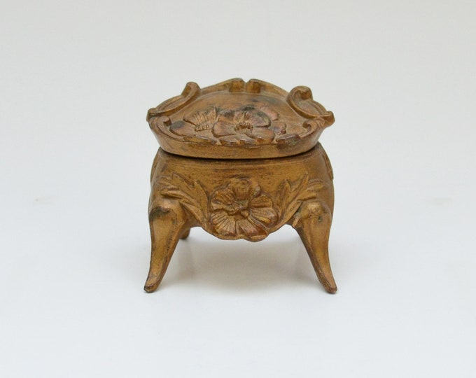 Antique Brass Footed Ring Box