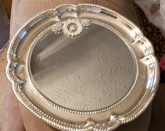 Fancy Scroll Edged Silver Plated  Embellished  Mirrored Tray/ Wall Decor/Vanity Tray