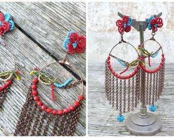 PARROTS handmade in France beaded & fringed  Loops dangles earrings