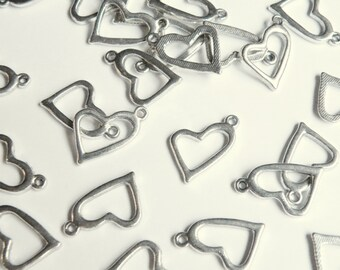 10 Slanting open Heart charms antique silver 20x14mm PLF9322Y