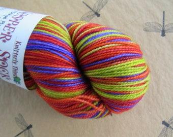 Sock Yarn Hand Dyed Artisan Vesper Striping Yarn Exclusive Sock Club February 2011 Colorway SUPER STAR Knitterly Things 100% SW Merino Wool