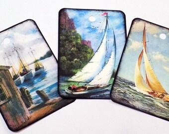 Sailboat Gift Tags - Set of 9 - Ocean Tags - Lighthouse Tags - Nautical Ship Tags - Sailor's Mermaid Tag - Sailing Tags - Seafaring Tags