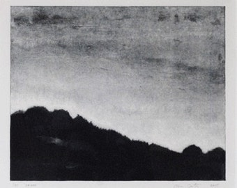 Etching Print - Fine Art Print - Landscape Etching - 'Dawn' by Ella Carty-Original Etching on Somerset Paper-  FREE SHIPPING