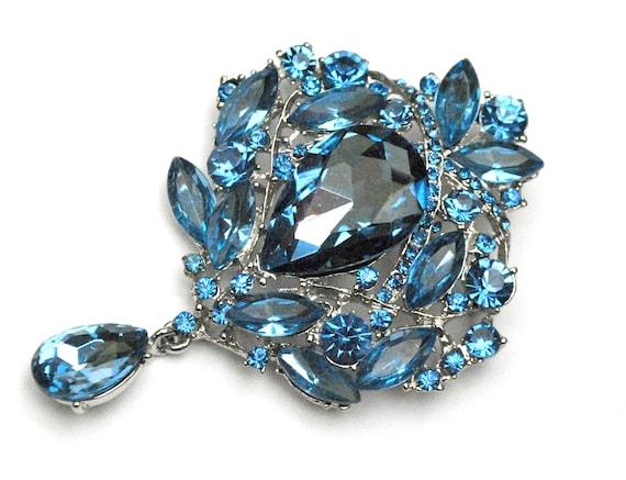 Blue Rhinestone Dangle  brooch Pendant - large light blue crystal - Silver metal - Wedding bride