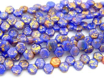 30x Czech Honeycomb Beads 6mm Hexagonal 2 Hole Hodge Podge Blue Splash Gold