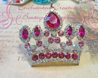 48mm Silver Princess Crown Pendant With Fuchsia, Pink and AB Clear Rhinestones, Frozen Anna Inspired