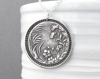 Wildflower Necklace, Long Silver Necklace, Sterling Silver Large Circle Pendant, 30 Inch Necklace Holiday Gift for Her