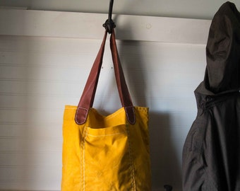 waxed canvas tote bag leather market bag yellow leather straps