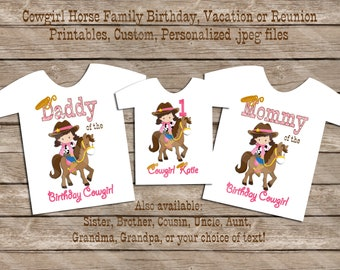Cowgirl Horse Birthday Family Set Digital Printables for iron-ons, heat transfer, Scrapbooking, Cards, Tags, Invitations, DIY YOU PRINT