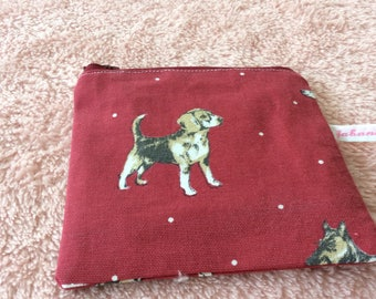 Dog pattern fabric cosmetic pouch