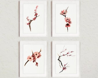 Set of 4, Cherry blossom watercolor painting, Pink tree Art Print, Nursery wall decor, Abstract flowers