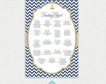 Nautical Baptism Seating Chart - Christening Seating Chart - Table Seating - Guest Seating