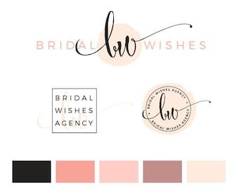 Branding Kit, Branding Package, Premade Logo, Pink Logo, Calligpaphy Logo, Photography Logo, Wedding Logo, Business Card Design