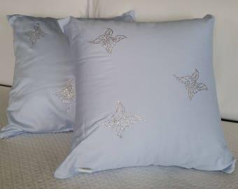 Cushion Furniture Butterfly Rhinestone Chic Blue Ice