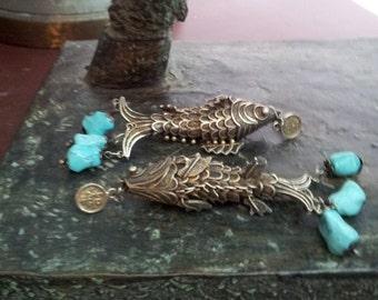 Turquoise Fish Earrings