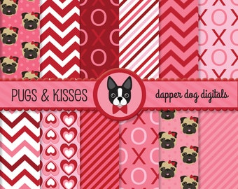 Pug Valentine's Day Digital Paper Pack - Commercial Use, Scrapbook papers