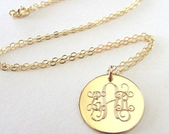 "Gold Monogram Necklace, Traditional Initial Pendant, Monogram Jewelry, 14K Gold Filled Charm, Chain, .75"" (3/4"") Letter Charm E. Ria Designs"