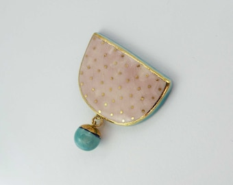Ceramic brooch,  pink and turquoise with gold.