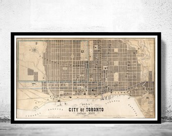 Old Map of Toronto, Ontario Canada 1857 Vintage map Toronto