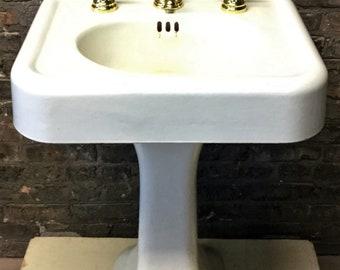 Antique Vintage C1927 Standard White Porcelain Over Cast Iron Pedestal Sink