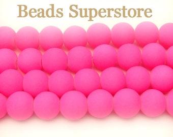 FINAL SALE 8 mm Fluorescent Neon Pink Glass Round Bead - 50 pcs