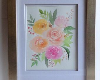 Floral Bouquet Design in Gold Frame
