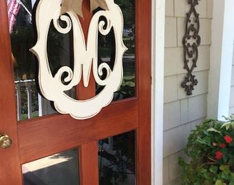 Monogram, Door Decor, Vintage Modern, Distressed, Burlap, Trendy, Monogram Door Decor, Letter, Initial, Hand Painted