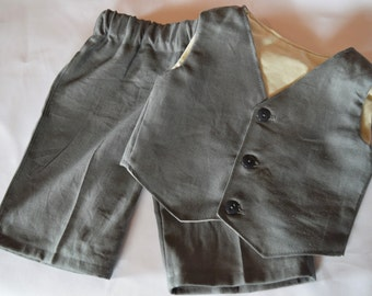 Charcoal gray suit for baby or toddler. Baby Boy's Suit, Toddler Suit Comes with pants and a vest made in a linen blend charcoal gray fabric