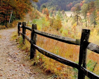 Personalized Photo,  Autumn Decor, Autumn Print, Fence with Names, Personal Gift for a Couple