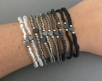 Black & White Heart Bracelets, Tiny Heart Bracelets, Delicate Bracelet Stack, OMbre Bracelet Stack, Gifts for Her