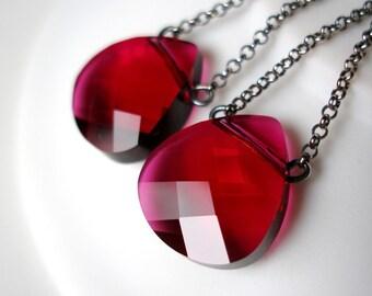 25% OFF Ruby Red Swarovski Earrings Swarovski Briolette Oxidized Sterling Silver July Birthstone Crystal Earrings