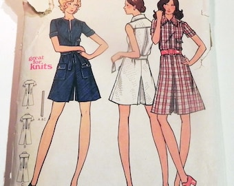 """1970s A line Pant dress romper culottes playsuit yoke short sleeves semi fitted sewing pattern Butterick 6616 Size 16 or 18 Bust 38 or 40"""""""