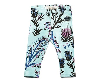 Thistle Leggings in Royal Blue, Magenta and Black on Mint