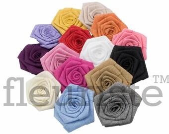 "Grab Bag, Burlap Flower, Flat Rolled Rosette, Burlap Rosette, Burlap Rose, Wholesale Flower, Fabric Flower, Burlap Flower, DIY Flower, 3"", 5"