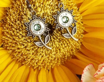 Southern Bullets. Bullet jewelry. Sun flower. Antiqued brass. Bullet earrings Handmade. 380acp Country girl Southern belle. Flower earrings.