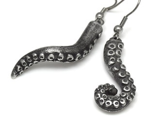 Octopus Tentacle Dangle Earrings in Pewter with Stainless Steel Hooks