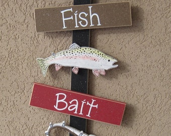 FISHING Thoughts, fishing hat, fish, fishing pole, wall, door, office, and home decor