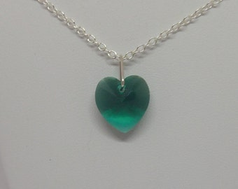 Sterling Silver Swarovski Crystal Emerald Heart Necklace (May Birthstone)