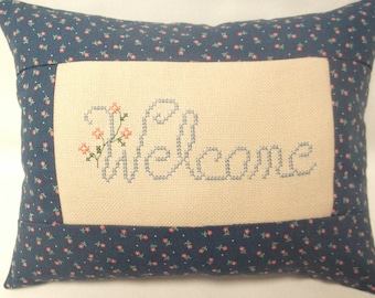 Welcome Cross Stitch Mini Pillow Decorative Pillow, Flowers, Floral, Guestroom Decor